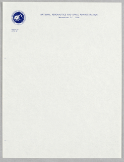 Stationery, NASA letterhead, blue all, ca. 1959