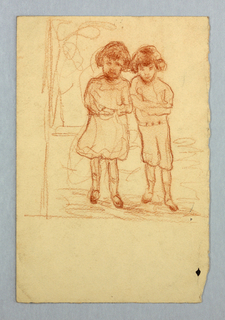 Sketch of two young children.