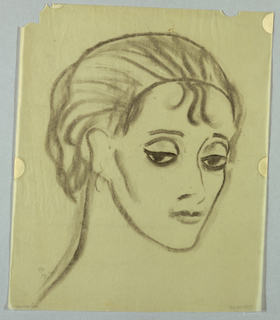 In this full page view of a woman, her face turns toward the left and her hooded, almond-shaped eyes, under straight brows, glance in the same direction. Her short hair, formed by thick lines, is swept back on the crown, perhaps under a headdress; a few loose strands escape in the center of the forehead and behind the left ear. From under the left ear, adorned by an earring, the diagonal jaw line extends, squaring off in the chin. The outline of the opposite side of her face reveals a high cheekbone.