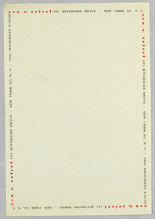 Sheet Of Stationery, Eva Zeisel, ca. 1948