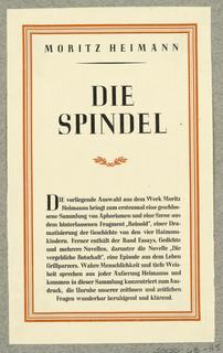 Announcement, Moritz Heimann, Die Spindel