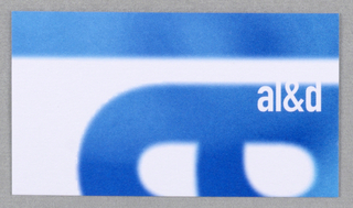 "Business card for Faculty of Architecture Landscape and Design at University of Toronto. Recto: Partial view of logo ""al&d"" (in blue) in vertical orientation on white. ""al&d"" (in white) horizontally oriented overlaps ""a"" at center right. Verso: Imprinted from top left, left justified, contact information: ""T 416 978 0267/ F 416 971 2094/ john.knechtel@utoronto.ca (all in bold)/ John Knechtel (in bold)/ Faculty of Architecture, Landscape, and Design/ University of Toronto/ 230 College Street, Toronto ON Canada M5T 1R2"" (in black)."