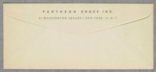 Envelope, Pantheon Books, Inc., ca. 1942–44
