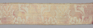 Narrow band with repeating pattern of confronted lions at a fountain and a crenelated tower. In faded red on a cream-colored ground.