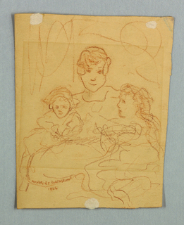 Partial sketch of a female figure with two children.