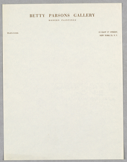 Sheet Of Stationery, Betty Parsons Gallery/Mod, ca. 1948