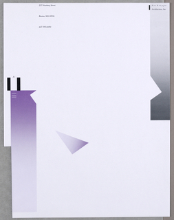 White sheet of paper, with vertical cutout on lower left. Left margin, lower section has a vertical column of gradient purple and a triangle, column topped with two black vertical bars with an 'A'. Upper right, vertical column in gradient gray with faux cutout, one black bar and text: Archetype Architecture; upper left, in black: 257 Newbury Street / Boston, MA 02116 / 617 353-0450