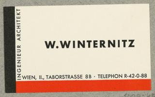Business Card, W. Winternitz, Ingenieur Architekt