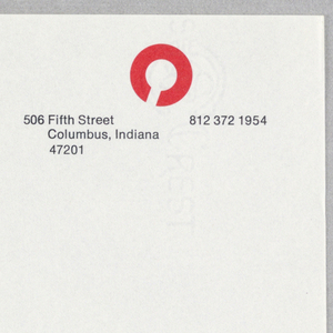 "Imprinted across upper edge of sheet, the letter ""C"" (almost a circle), seeming randomly scattered and cut off by sheet, in black, yellow blue, green, and red.  In upper left, in four lines, in black ink, the name and city of the center; in upper right, in three lines the mailing address and phone number. Imprinted in black, upper left:  Visitors / Center / Columbus / Indiana; upper right:  506 Fifth Street/Columbus, Indiana/47201; upper right corner:  812 372 1954."