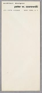 Envelope, Architect and Designer Pe, ca. 1945