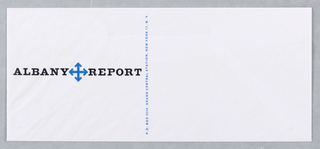 """Envelope for the Albany Report, Inc. Blue insignia at left, centered between """"ALBANY REPORT"""" in bold black text, four arrows in a minimalist form of compass rose. Blue printed text vertically at center."""
