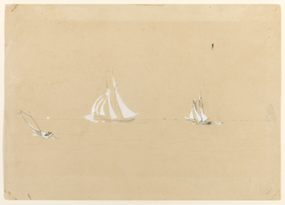 Horizontal view of two schooners, one with a broken spinnaker, and a yawl with other sailing craft visible on the horizon.