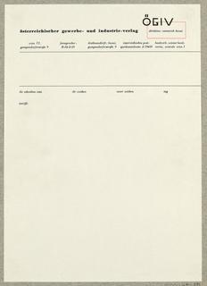 Letterhead, ÖGIV [Österreichischer gewerbe - und industrie - verlag, Wien]
