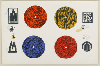 Record label design. Four collaged discs of paper in orange, yellow, and blue with black. On left and right sides, different logos for Manhattan Records in black, with graphite notations.