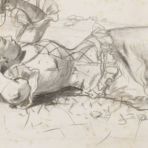 Horizontal view of a woman, clothed as shepherdess, lying on the ground in an open field, with a crook beside her; a flock of sheep, and trees, are visible in the background.