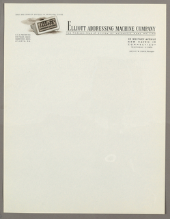 Letterhead, Elliott Addressing Machin, ca. 1940–65