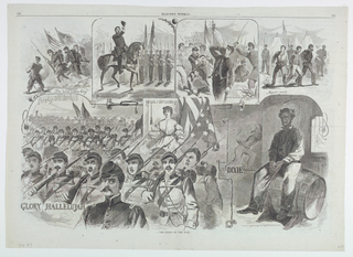 Double-page spread for Harper's Weekly, with vignettes related to songs labeled: The bold soldier boy, Hail to the Chief, We'll be free and easy still, Rogues march, Glory Hallelujah, The Girl I Left Behind Me, Dixie.