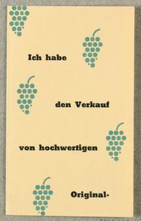 Business Card, Ich Habe den Verkauf von hochwertigen Original - Dessertweinen J. Deutsch