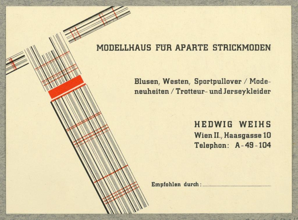 Business Card, Modellhaus fur Aparte Strickmoden, Hedwig Weihs