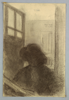 Sketch of the artist wearing a hat and drawing in her studio.