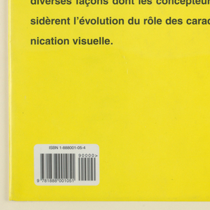 "Front and back book jacket for  ""Digital Fonts. "" On yellow  background, arranged in three rows of three, nine  three-dimensional geometric images of numbers from 1 to 9, delineated in black outline. Title ""Digital Fonts,"" in orange and blue, runs vertically along right edge of cover. Imprinted vertically on spine of book jacket: ""Graphis Digital Fonts"" (in black) and ""1"" (in orange).  Text on back cover."