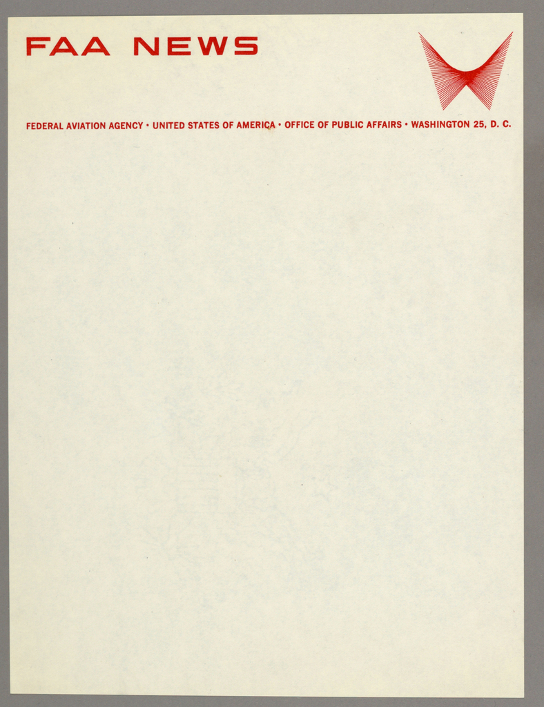 Letterhead for Federal Aviation Agency (FAA) News. Company name printed in red-orange, in all caps at top aligned left. Company logo, a series of overlapping lines that recollect the shape of outspread wings, at top right.  Line of printed text beneath, stretching across page.