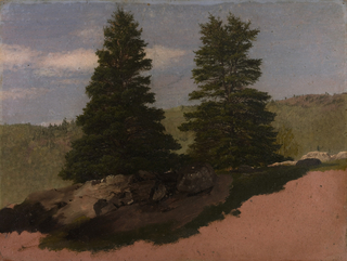 Horizontal view of two evergreen trees rising behind a stone wall in the central middle distance as a range of wooded hills forms the background. The lateritious grounding color is shown below at right and in an irregular bottom margin.