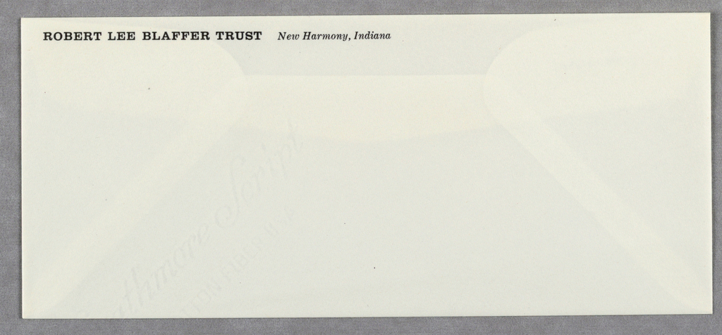 Envelope for Robert Lee Blaffer Trust.  Name and location appears in printed black text at top left.