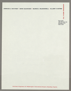 Off white stationery for architectural firm.  Members listed in black across top of page with red dots between names, organization name in red, centered at bottom. At right, vertical red text, and name and address of firm member in black.