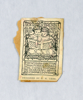 Bookplate reproduction mounted on brown paper: ex libris Edmundi Hortnew designed by C.M. Gere