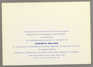 Off-white print invitation with ten lines of printed blue text at lower center, address of the Jewish Museum, New York, NY.