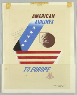 Drawing, American Airlines to Europe