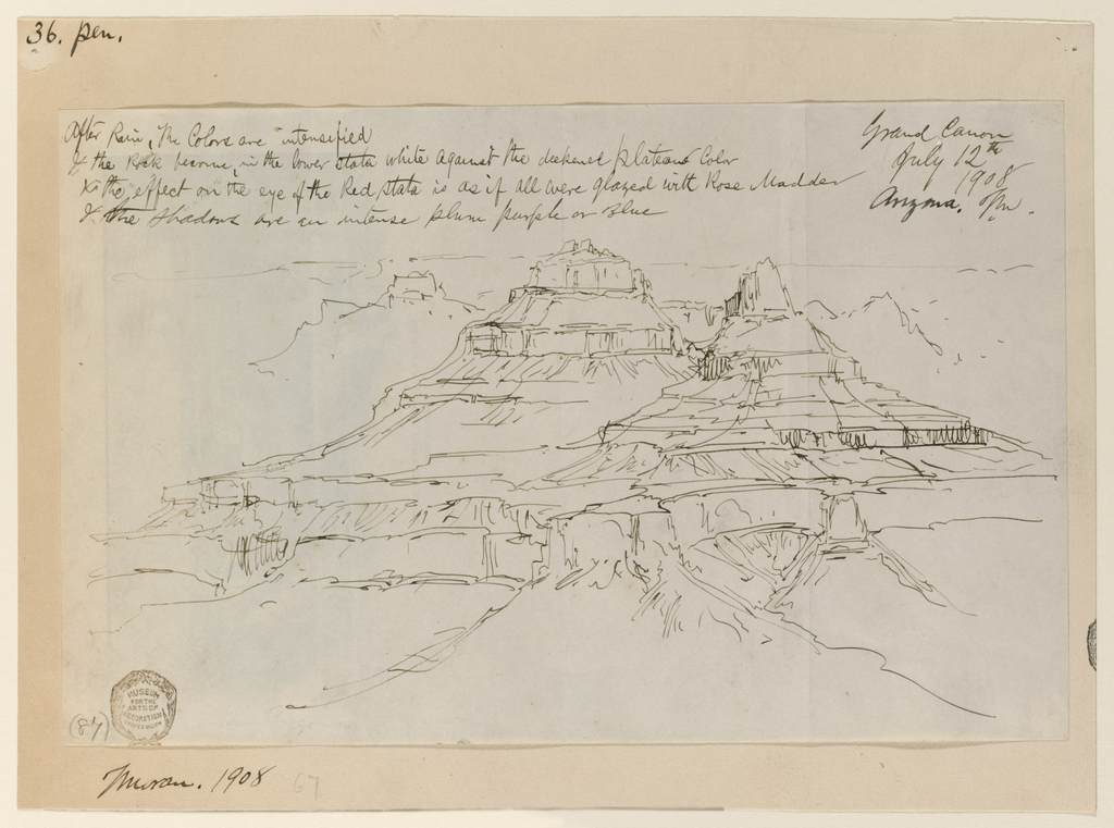 Horizontal oblique view of two cliffs in Grand Canyon, diagrammatic sketch.