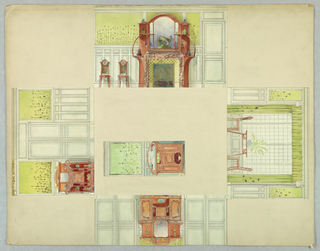 Drawing for a French room interior featuring four elevations with alternative scheme.