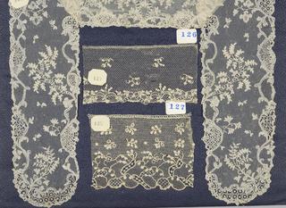 Needle lace pattern on bobbin net ground, floral vine; mid-18th century Alencon Barbe