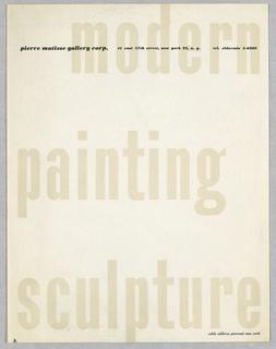 Print, Letterhead: Pierre Matiss, ca. 1946–47