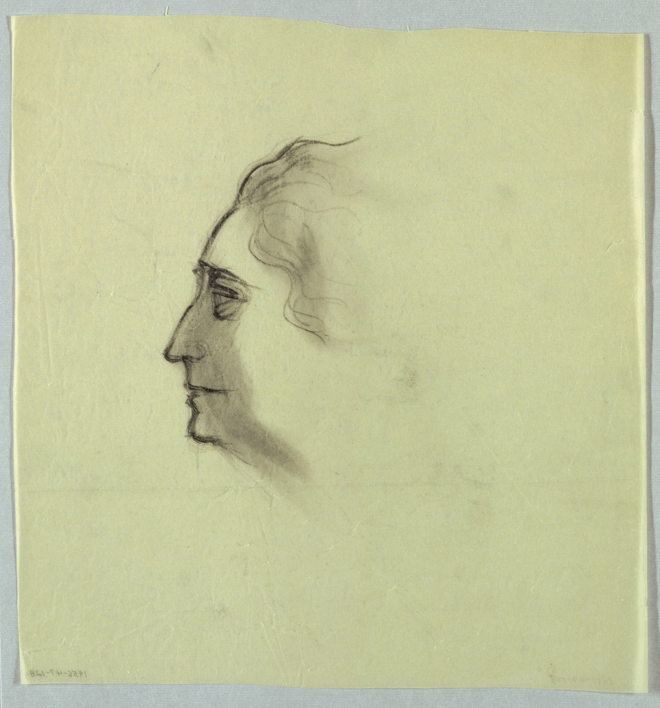 Centered on the page, this view shows a woman in left profile with her eye  opened; an aquiline nose; and lips opened part way and smiling slightly. Her wavy hair is lightly sketched and shadowed. The profile outline is dark and a heavy shadow extends from the outline to where the cheeckbone would be, if it were shown.
