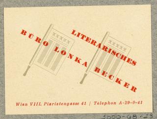 Business Card, Literarisches Büro Lonka Becker, Wien [Lonka Baecker Literary Bureau, Vienna]