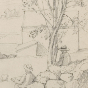 Horizontal view of landscape containing Chocorua Pond and Mountain in the distance as four seated men sketch in a field with a stone wall, tree and shed located in the right foreground.