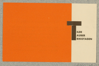 Business Card, Tilde / Tauber / Trikotagen