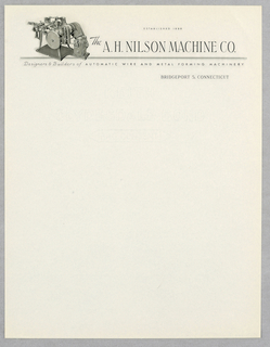 Letterhead, A.H. Nilson Machine Co.