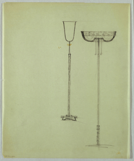 Two floor lamps are positioned next to each other on the page. The lamp in the center has a shade in an inverted bell shape and is probably fabricated of opaque or translucent white glass. The narrow twist-patterned shaft appears to be metallic. To the right, the second lamp has a patterned shade, probably fabricated of multi-colored glass pieces or of colorless etched glass. The convex shape of the shade on the underside is broken in the center, where a horizontal piece has two attached, side-by-side light pulls. The narrow shaft, which appears to be metallic, is unadorned except for a small piece toward the bottom.