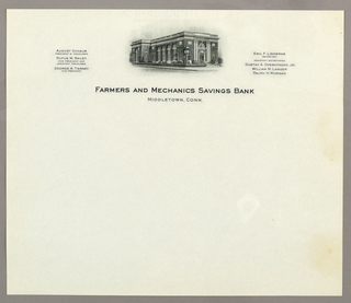 Letterhead, Farmers and Mechanics Sav, ca. 1940–65