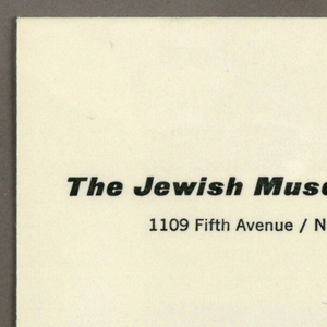 Off-white envelope with two lines of printed gray text at upper left, address of the Jewish Museum, New York, NY.