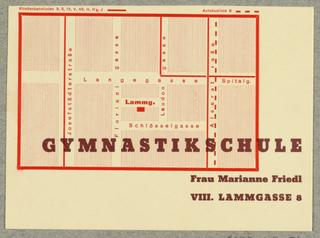 Postcard, Frau Marianne Friedl Gymnastikschule [Gymnastic School]