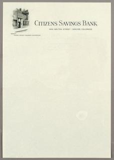 Letterhead Stationery, Citizens Savings Bank, De, ca. 1940–65