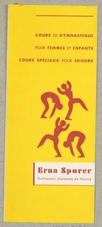 Announcement, Erna Sporer Cours de Gymnastique  pour Femmes et Enfants / Cours Speciaux pour Skieurs [Gymnastic Courses for Women and Children / Special Courses for Skiers]