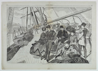 View of the passengers on the steamer's top deck.