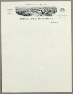 Letterhead, Ashaway Line and Twine NF, ca. 1940–65