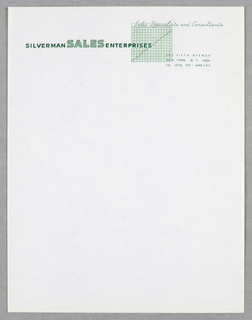"Company name imprinted across top of sheet in green raised capital letters; at upper center,  a green grid chart beneath ""Sales Specialists and Consultants"" (in script type).   Company address is at top right, beneath grid."